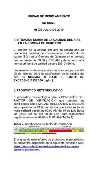 """Informe unidad metereológica 338x600 - Vecinos denuncian """"pluma"""" de contaminación en Quintero y críticos niveles del aire"""