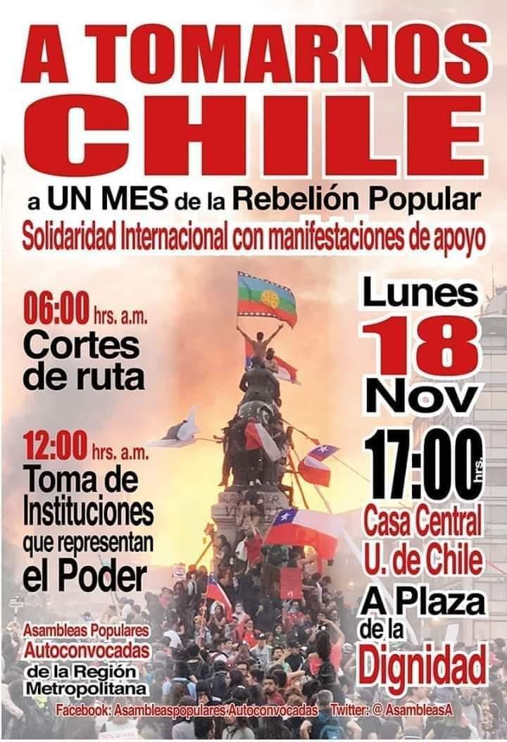 """afiche lunes18 noviembre - Asamblea Autoconvocada y Popular de la RM funó al Frente Amplio en Plaza de la Dignidad: """"Los de RD traicionaron el movimiento"""""""