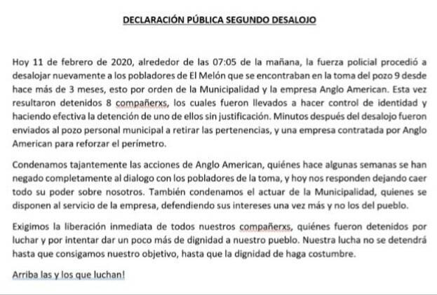 Declaración Pública de toma del Pozo 9 en El Melón